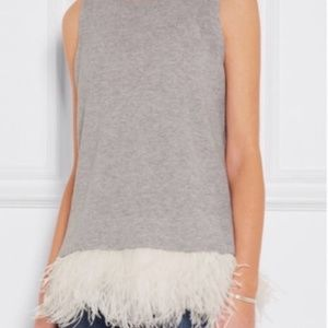 JCREW Grey Cashmere Feather Silk Tank NWT - Size M
